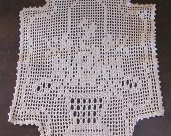 "Lovely Antique Beige Crocheted Doily 12"" x 16"" Basket"