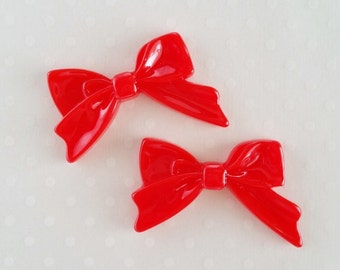 4pcs - Red Sweetheart Bow Decoden Cabochon (45x30mm) BM10012