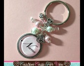 PERSONALIZED Pink Granny, Gran, Mom, Name or Initial Bezel With Glass Dome Pendant Necklace Or Keychain With Matching Bead
