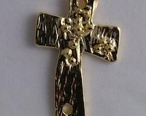 "Gold Vermeil Artisan ""Cross in the Wind"" Pendant No. Cross1vm"