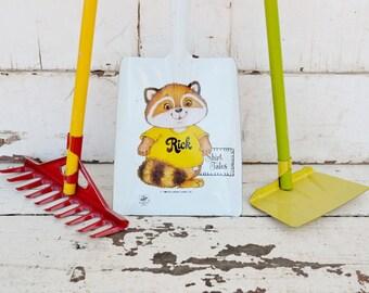 Child's Garden Tools Shovel Rake Hoe Ohio Art Hallmark Shirt Tales Racoon Yellow Red Orange Green Set of 3 Three 1980's