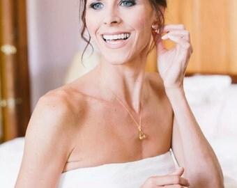 Golden Shadow Crystal Drop Wedding Jewelry Set, Champagne Bridal Jewelry Set, Bridesmaids Jewelry Set, Gold Crystal Drop Pendant Earring Set