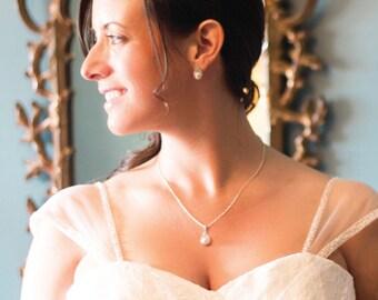 Jewel Pearl Drop Wedding Jewelry Set, Bridal Set, Bridesmaids Jewelry Set, Earring and Necklace Bridal Jewelry Set