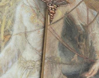 Vintage Brass Deco Medical Symbol Caduceus Stick Pin