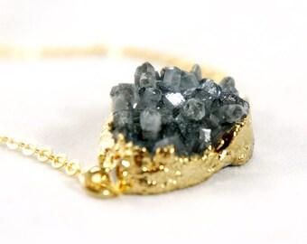 20% OFF Druzy Necklace - Coat Black - Natural Agate Titanium Druzy Geode Quartz Crystal Rough Cut Rock Drop Nugget Necklace OOAK - SDN60