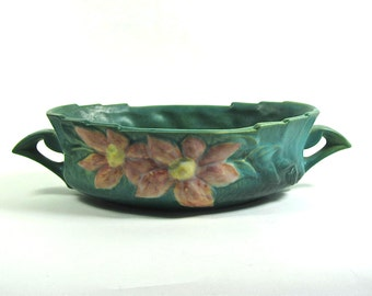 Vintage Roseville Pottery Clematis Console Bowl, Green with Pink  1940