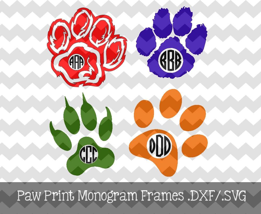 Paw Prints Monogram Svg: Paw Print Monogram Frames .DXF/.SVG/.EPS File By