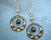 Chandelier earrings, boho earrings, Crescent earrings, gold earrings, dangle earrings
