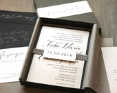 "Modern Script Wedding Invitations, Elegant Boxed Wedding Invitation, Calligraphy - ""Black Script Box Invite "" Sample - NEW LOWER PRICE!"