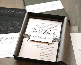 "Glitter Silver Wedding Invitations, Luxury Metallic Boxed Wedding Invitations ""Black Script Box Invite"" Deposit - NEW LOWER PRICE!"