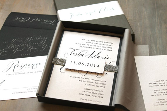 Wedding Invitation Picture Ideas: Modern Script Wedding Invitations Elegant Boxed Wedding