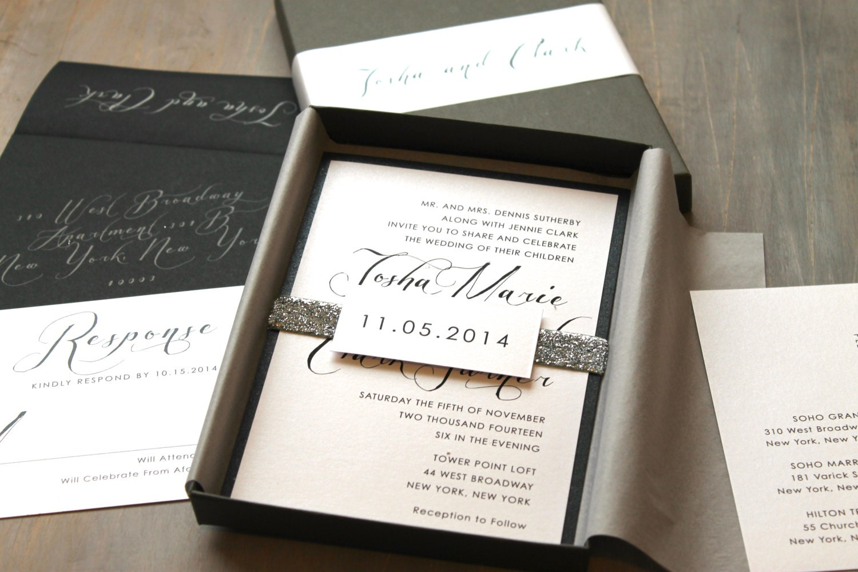 Glitter Silver Wedding Invitations Luxury Metallic Boxed – Luxury Wedding Invitations in Boxes