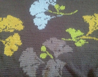 Ready-Made Crochet Afghan---GINGKO LEAVES in Dark Brown