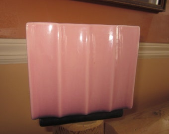 pink scalloped planter,  tall planter..pottery