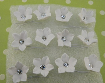 Gumpaste Flowers with Rhinestone Center / Cake Toppers / Flowers / Sugar /