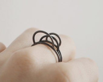 Silver thin stacking rings, circle line silver rings, oxidized silver rings