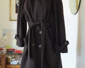 VTG. Regency Cashmere Walking Coat  Double Breasted  Tie Belt  Hand Picked   SZ 6
