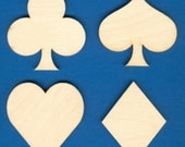 """Unfinished Set of 4 Wood Card Deck Suits 3"""" Tall SH-304"""