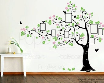 Office Photo Tree Wall Mural Photo Frame Wall Stickers Living Room Wall Decal - Big Photo Tree  - Photo Hanging Wall Paper Vinyl Tree Decal