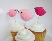 Cupcake Picks - Shades of Pink - Flock of 6 - Made to order
