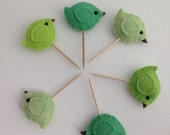 Cupcake Picks - Shades of Green - Flock of 6 - Made to order