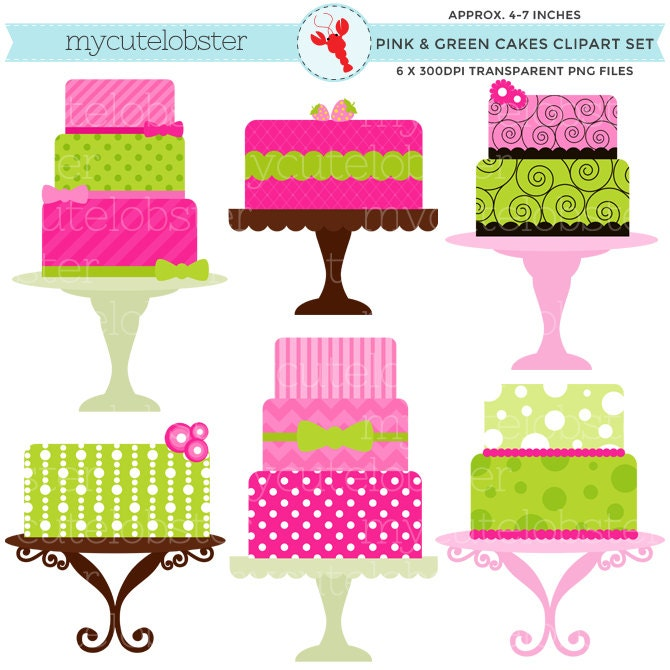 Free Clipart Cake Stand : Pink and Green Cakes Clipart Set clip art set of cakes on