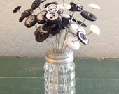ON SALE just for you button bouquet in vintage salt/pepper shaker