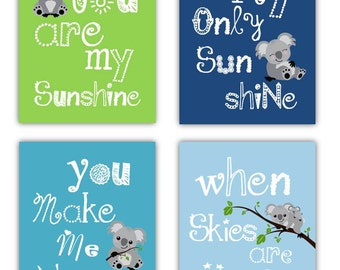 Koala Art // You Are My Sunshine Art // Navy and Lime Nursery Art Prints // Kala Nursery Decor // 4-8x10 PRINTS ONLY