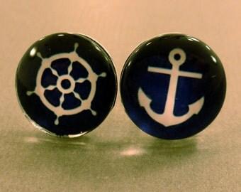 Nautical Studs: Anchor and Ship Wheel Studs, Mix Matched, Blue Anchor, Blue Shipwheel, Nautical, Sailor