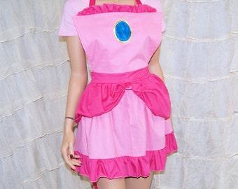 Inspired By Princess Peach Cosplay Kitchen Apron MTCoffinz
