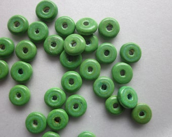 Green Wood Spacer Beads 10mm 10 Beads