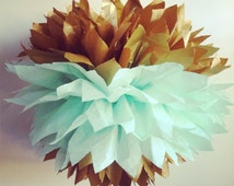 The Original Gold Dipped Tissue Paper Pom Pom, gold poms, gold and mint pom poms, wedding decorations, Spring Decorations, Mint to Be theme