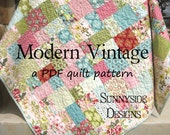 PDF Quilt Pattern Modern Vintage Moda Layer Cake Riley Blake Ten Inch Stackers Quick Simple Easy, Baby Quilt Pattern, Lap Throw Pattern