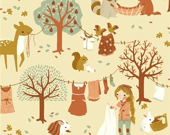 COTTON Acorn Trail Laundry Day Girl Woodland Fabrics Birch Organics Forest Animals Coral Pink One Yard, More Available