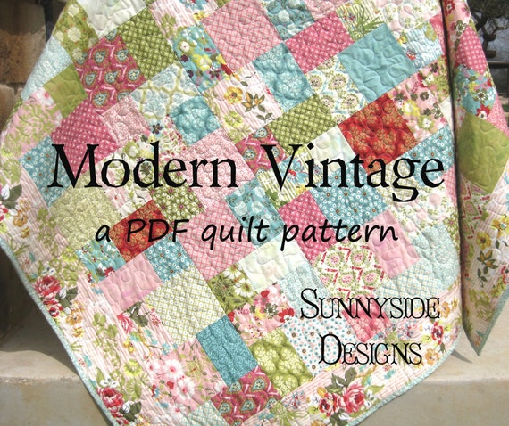 Book Cover Vintage Quilt : Pdf quilt pattern modern vintage moda layer cake riley blake