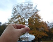 Vintage Glass Single Etched Floral One Flowers Stemware Cordial 1940s to 1970s Fostoria Champagne Wine