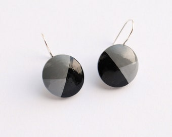 grey GEOMETRICAL wooden earrings
