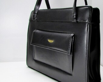 Sweet '60s Charm: Vintage Double Strap, Round Clasp-Close Black Handbag