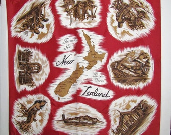 "Vintage NEW ZEALAND SOUVENIR Scarf  with Map Red,White & Brown  27"" X 27"" Excellent Conditon"