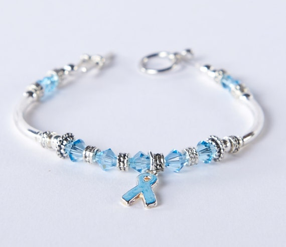 light blue prostate cancer awareness bracelet swarovski