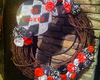 """Orange, Black, Grey, and White 18"""" Rosette Wreath With Hand Painted Sign"""