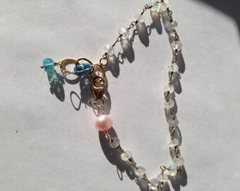Moonstone, Pink Pearl, teal apatite, London blue topaz, Gold bracelet