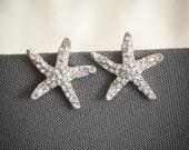 Bridal Starfish Earrings, Crystal Rhinestone Wedding Starfish Stud Earrings, Beach Wedding Jewelry, Art Deco Silver Bridal Jewelry, STARFISH