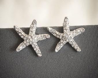 50% OFF, Bridal Starfish Earrings, Crystal Starfish Wedding Stud Earrings, Beach Wedding Jewelry, Destination Bridal Jewelry, STARFISH
