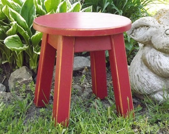 """Reclaimed wood/ painted/ round stool/ step stool/ foot stool/ painted/ riser/ 8 - 10"""" 12""""H"""