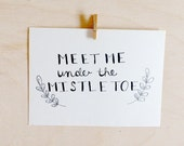 "Couples Christmas Card. Boyfriend Holiday Card. ""Meet Me Under the Mistletoe."" Eco Friendly Card. 100% Cotton Paper Card"