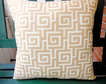 Tan White Greek Key Pillow Cushion COVERS Two 18 Inch Couch Pillow Cushions Beige/Tan Cushion Covers Bed Decor Sofa Accent Pillow Cottage
