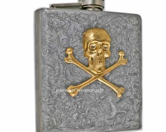 Steampunk Flask Brass Skull and Cross Bones Metal Flask 6 oz. Silver Hand Painted Stainless Steel Hip Flask