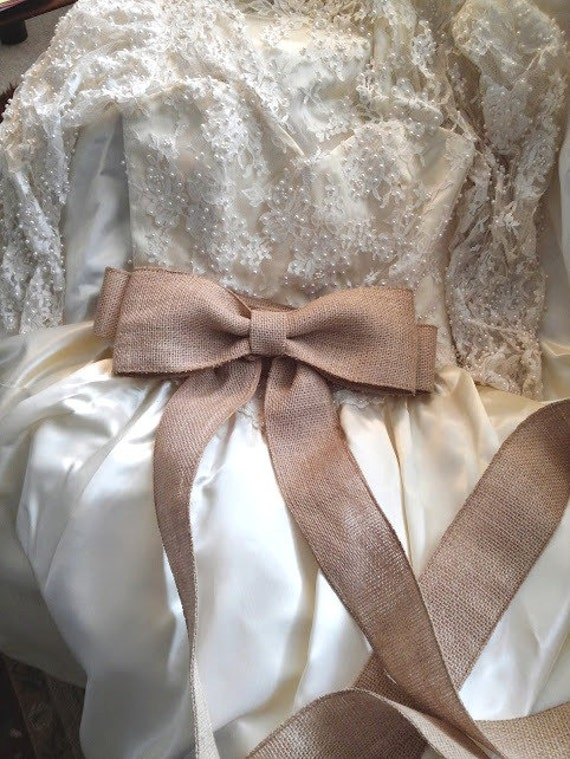 Burlap Wedding Dress Sash Country Chic Rustic Wedding Big