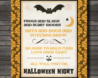 Halloween Subway Decor, Halloween Art Printable, Poem, Instant Download